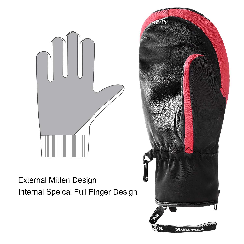 KUTOOK Winter 3 Fingers Ski Mittens Goatskin Thermal 3M Thinsulate Waterproof Snowboarding Gloves with Pocket for Men Women