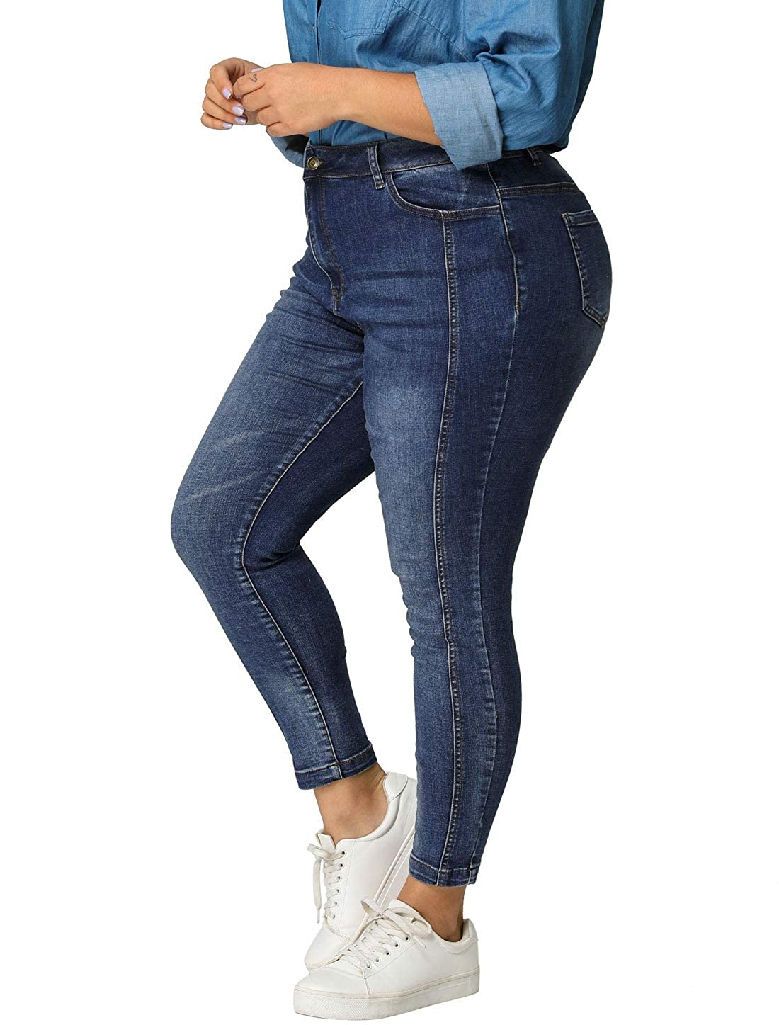 Agnes Orinda Womens Plus Size Stretch Mid Rise Washed Skinny Jeans