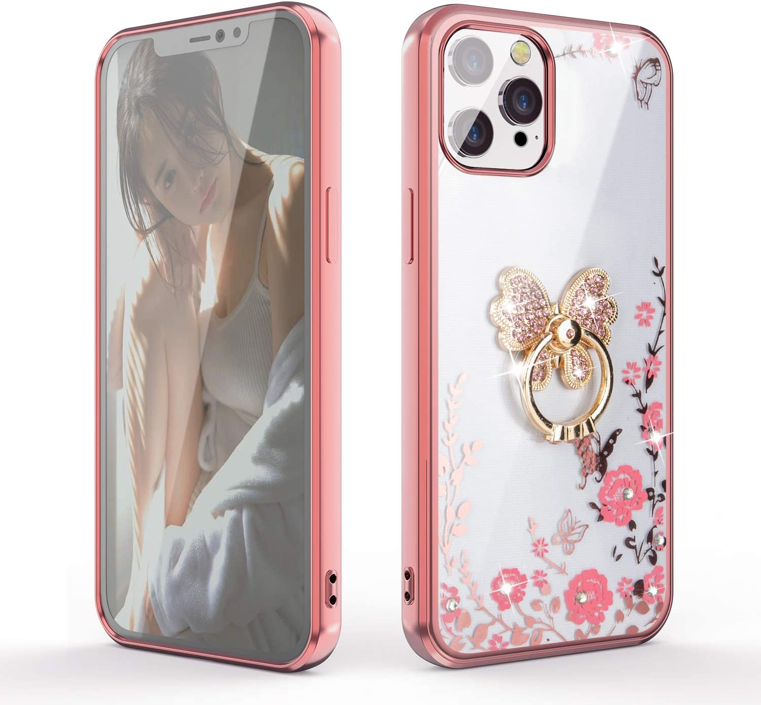 for iPhone 12 Pro Max Case,Glitter Diamond Secret Garden Floral Butterfly Clear Back Soft TPU Case with Bling Shiny Rhinestone Ring Grip Holder Stand for iPhone 12 Pro Max,Rose Gold/Butterfly Bracket