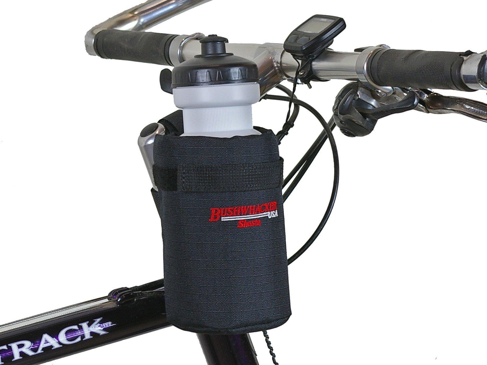 Bushwhacker Shasta Black - Insulated Bike Water Bottle Holder w/ 20 oz. Bottle - Two Point Bike Frame & Handlebar Attachment w/ Belt Loop