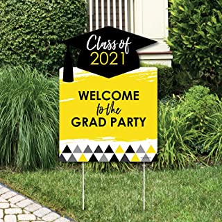 product image for Big Dot of Happiness Yellow Grad - Best is Yet to Come - Party Decorations - Yellow 2021 Graduation Party Welcome Yard Sign