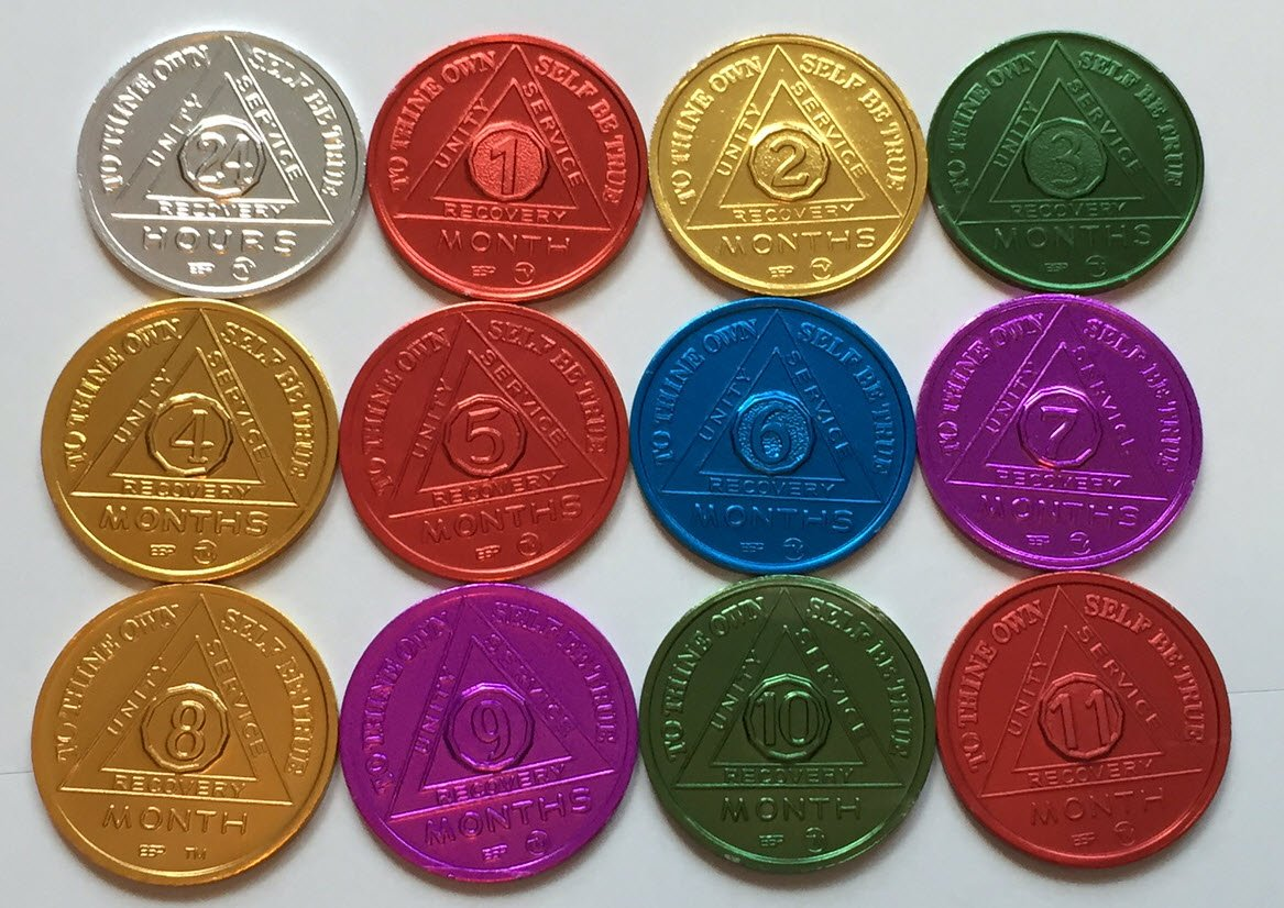 SET of 12 Recovery AA Medallion / Coins BSP 24hr-11mo Commemorative Bright Star Press