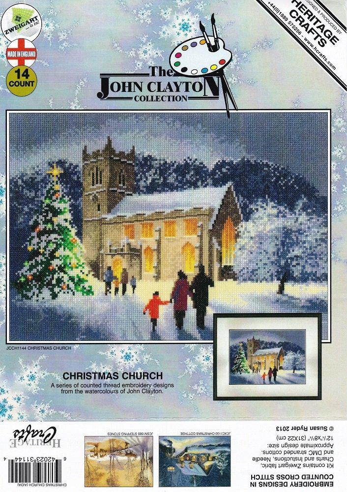Heritage Crafts Collection Christmas Church Cross Stitch Kit
