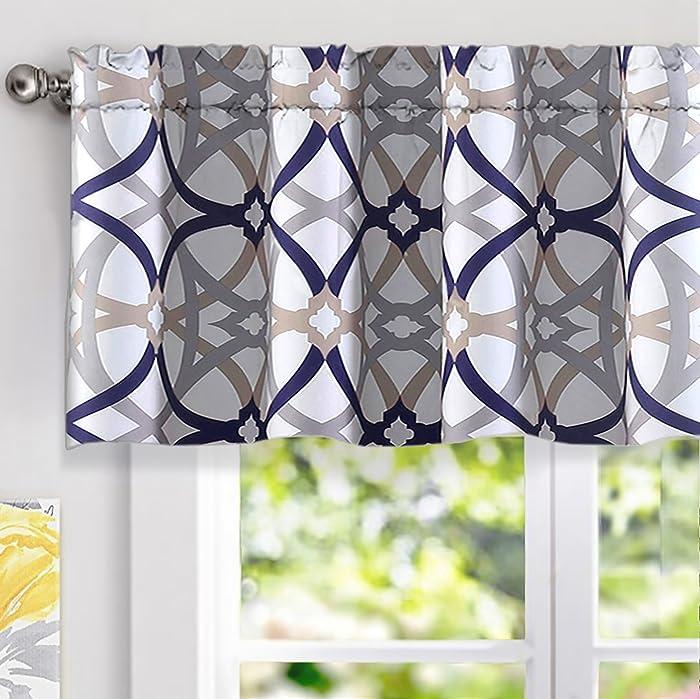 "DriftAway Alexander Spiral Geo Trellis Pattern Window Curtain Valance, Rod Pocket, 52""x18""+2""Header(Navy/Gray)"