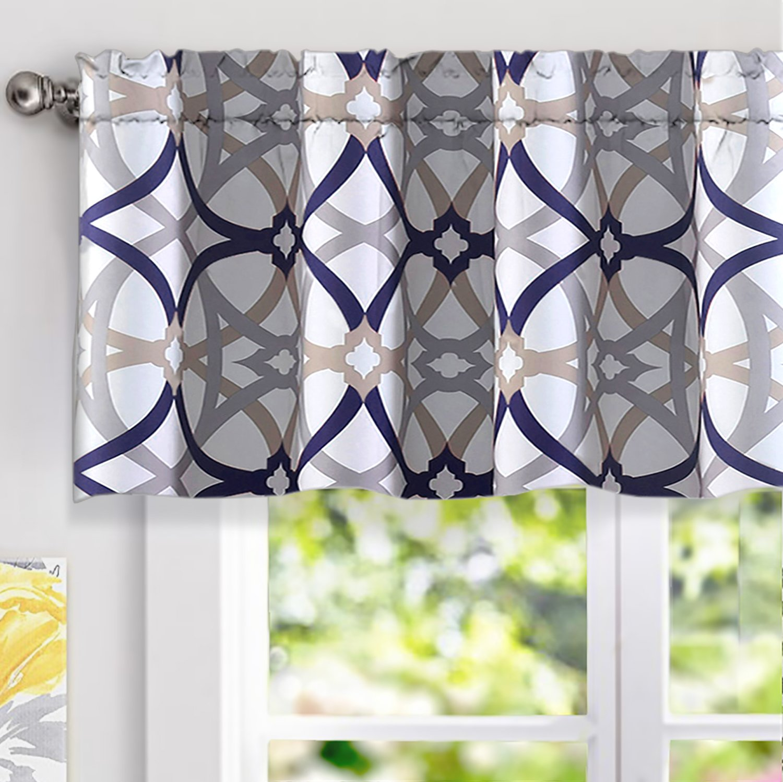 "DriftAway Alexander Spiral Geo Trellis Pattern Window Curtain Valance, Rod Pocket, 52''x18''+2""Header(Navy/Gray)"