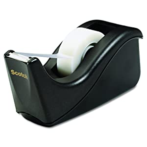 Scotch Brand Value Desktop Tape Dispenser, 1 Inch Core, Two Tone Black (C60-BK)