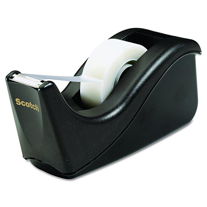 Scotch Brand Value Desktop Tape Dispenser, 1 Inch Core, Two Tone Black (C60-BK)
