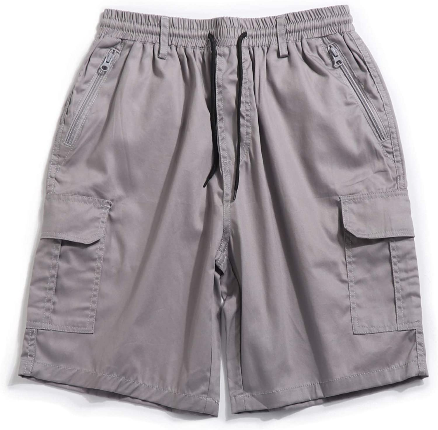 """APTRO Men's Cargo Shorts 7"""" Inseam Stretch Cotton Elastic Waistband Relax Fit Casual Outdoor Shorts"""