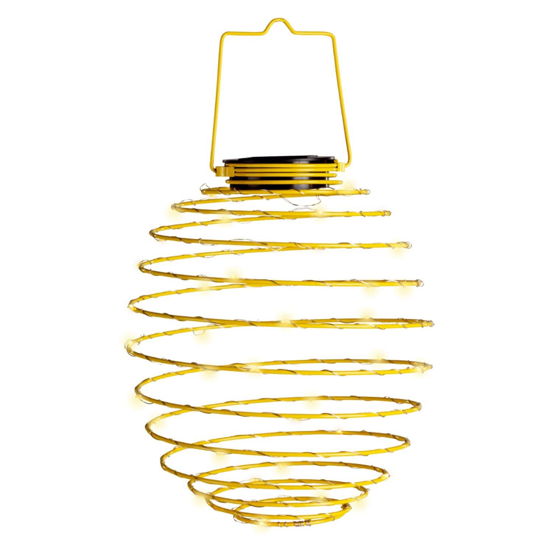 Solalite® Große solarbetriebene Draht-Spiralleuchte, Hängeleuchte, 45 LEDs, Laterne in Bienenkorbform, grün gelb Hängeleuchte grün gelb