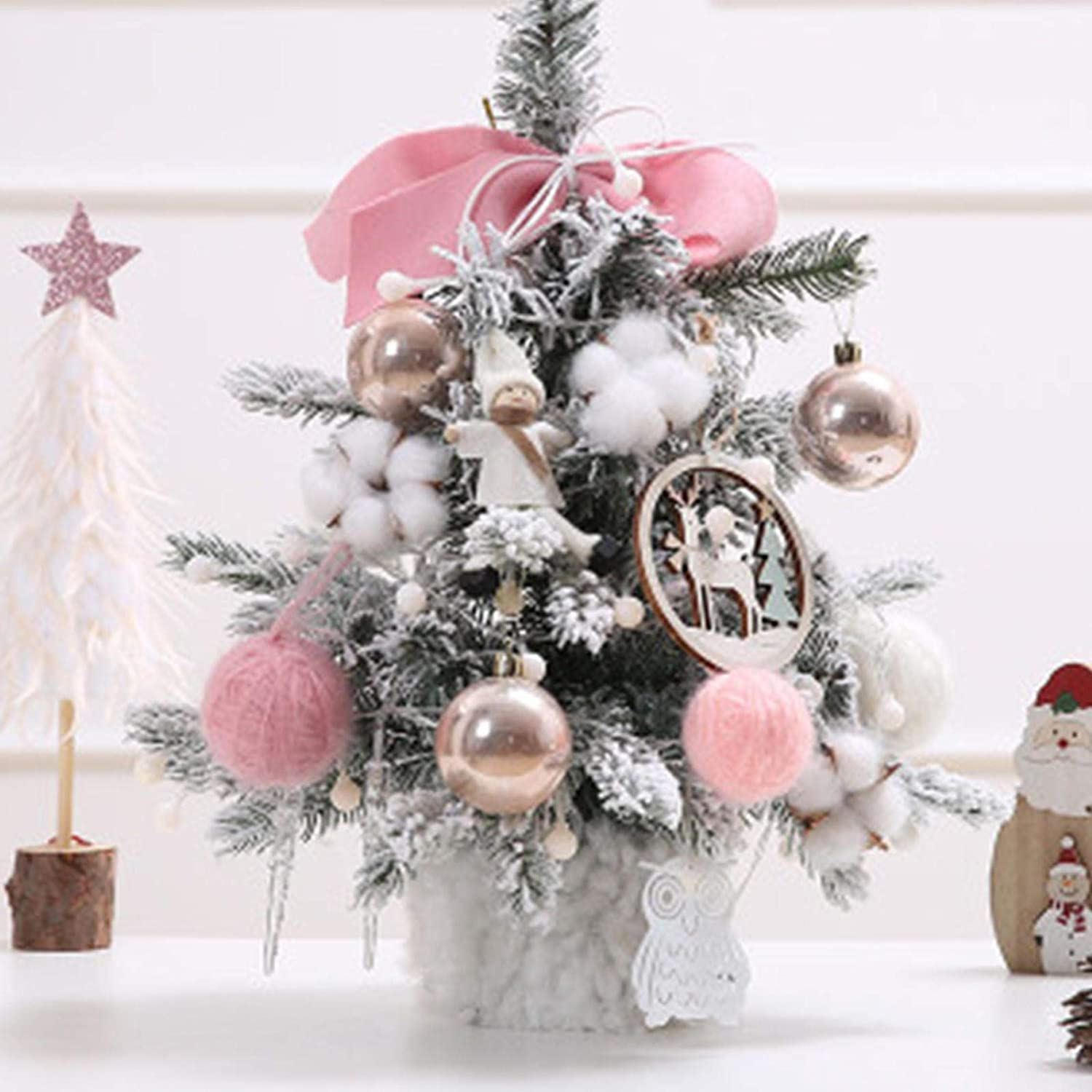 Mini Xmas Pine Tree with Decorations Artificial Christmas Tree Warm Yellow Led Lights Indoor Decorative Mini Xmas Tree for Christmas, Home, Kitchen, Dining Table Decor Pink 30cm