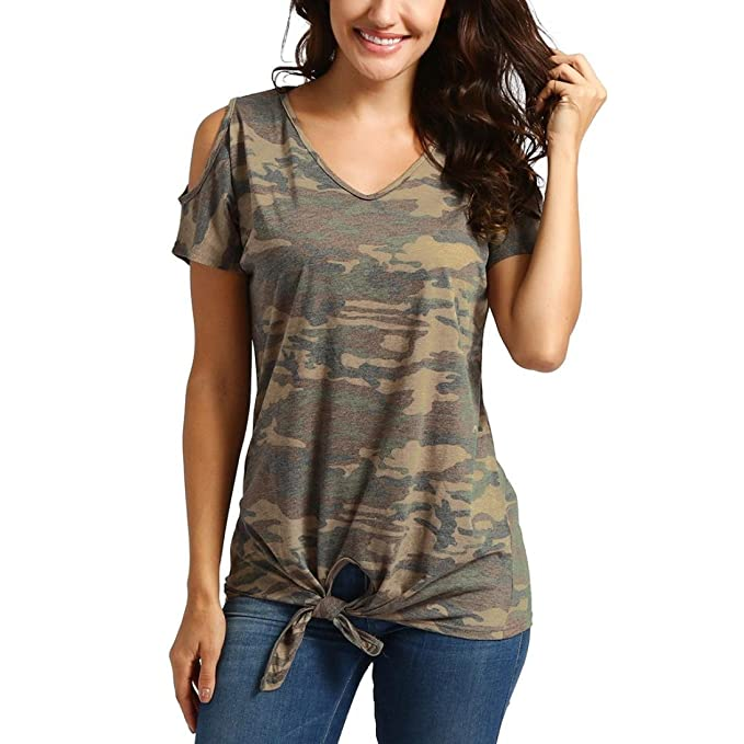 DOGZI Blusas Mujer Verano 2018 Mujeres Casual Frío Hombro Nudo Diseño Camuflaje Tops Camisetas Blusa Blusas