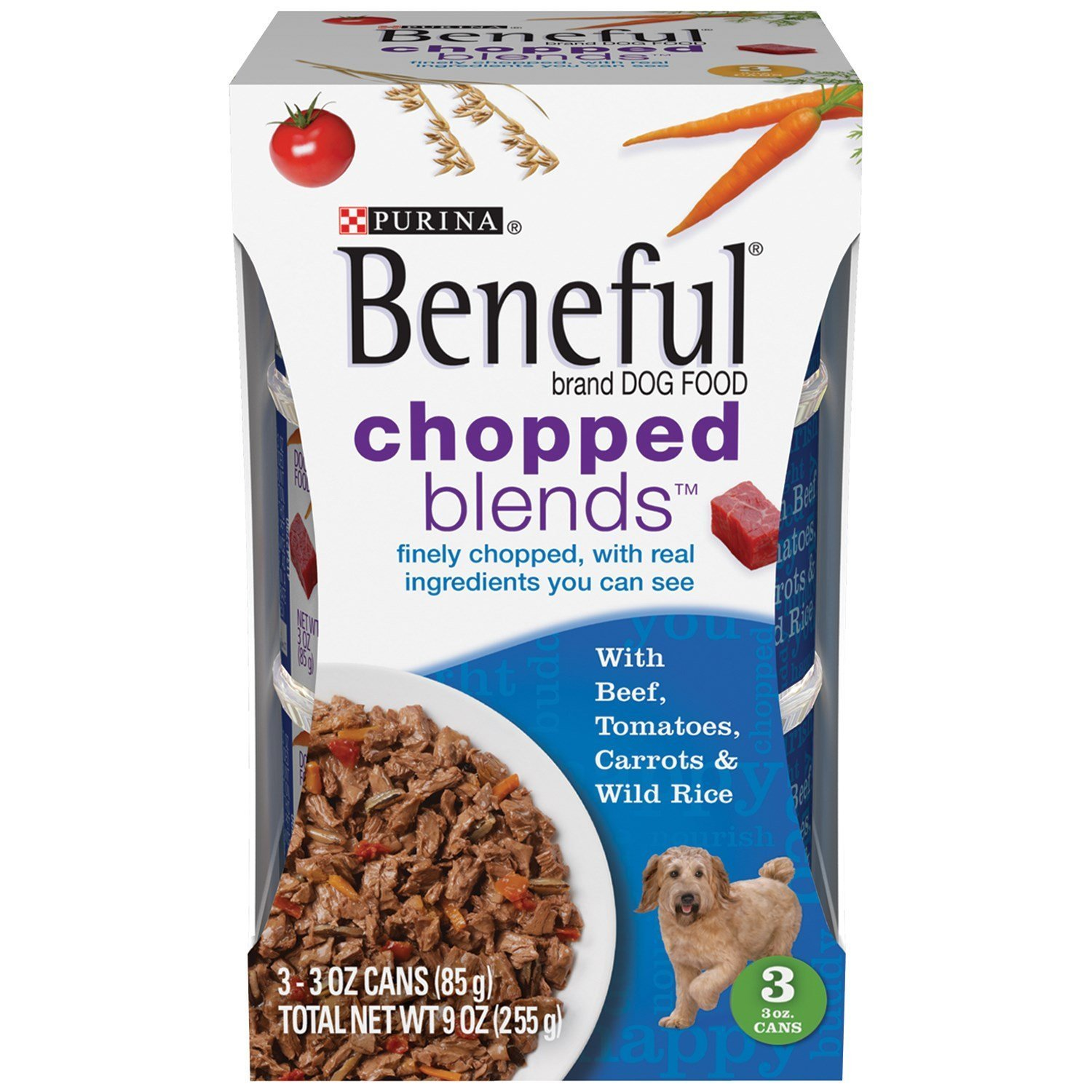 Beneful Chopped Blends with Beef, Tomatoes, Carrots and Wild Rice 9 Ounce Pack of 8