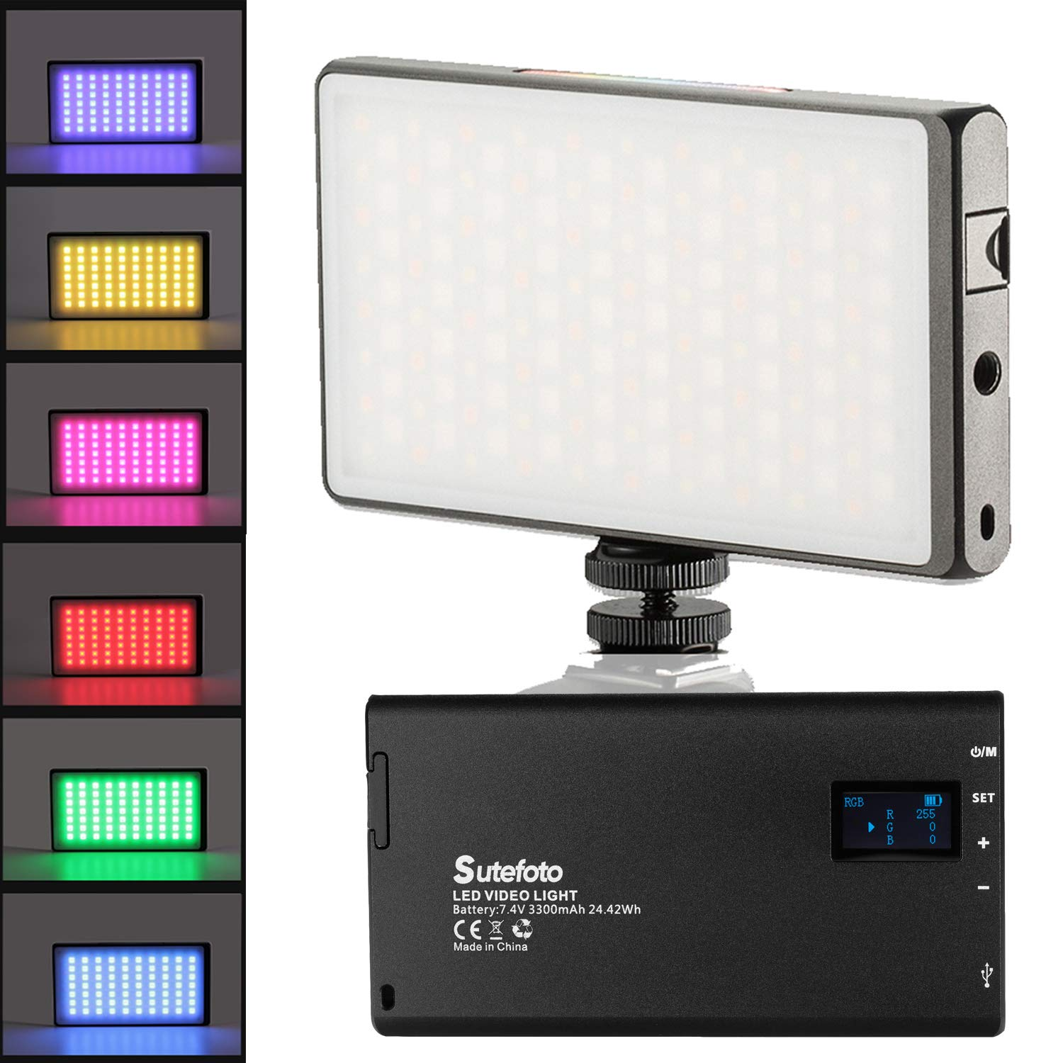 RGB LED Full Color Video Light CNC Aluminum Alloy Body 3300mAh Rechargeable Battery Pocket Light with Cold Shoe for Camera Camcorder with 2500K-8500K Color Range, 10 Scenario Simulations LCD Display by fotowelt