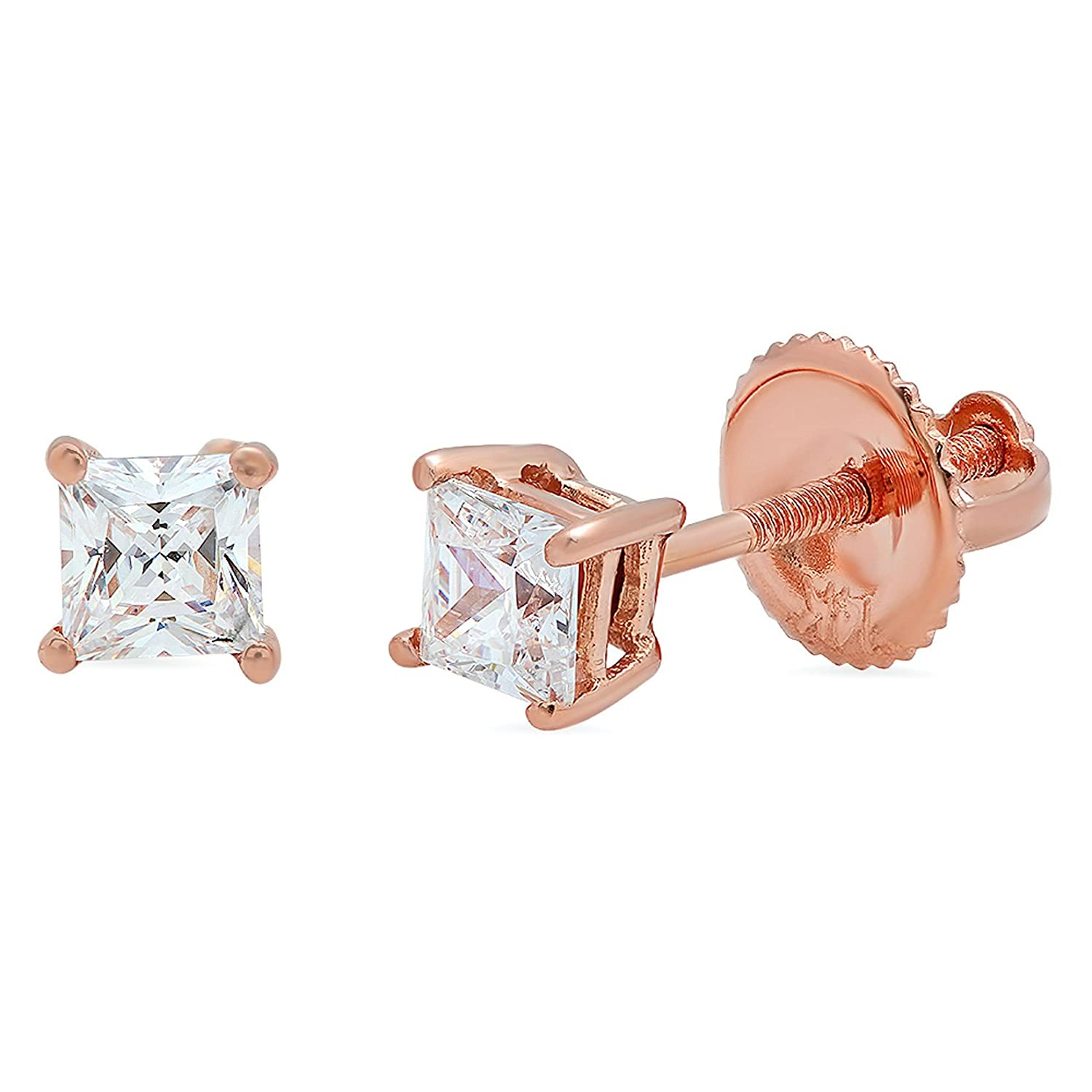 0.4ct Brilliant Princess Cut Solitaire Highest Quality Moissanite Unisex Anniversary Gift Stud Earrings Real Solid 14k Rose Gold Screw Back