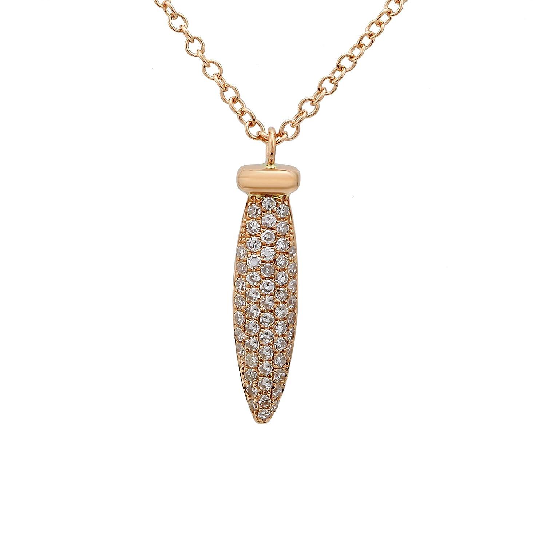 Or Rose 14K Pendentif chaîne 0.14CT Diamant Blanc naturel Unique Pendentif Chaînes pour femme