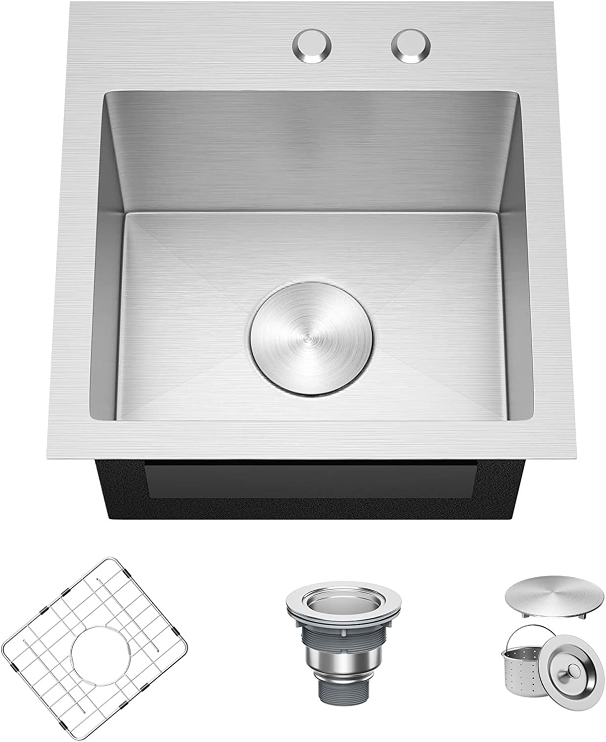 X Home 15 x 15 Inch Drop in Topmount Sink, 304 Stainless Steel Kitchen Sink, 16 Gauge Single Bowl Bar Prep Sink with R10 Corners