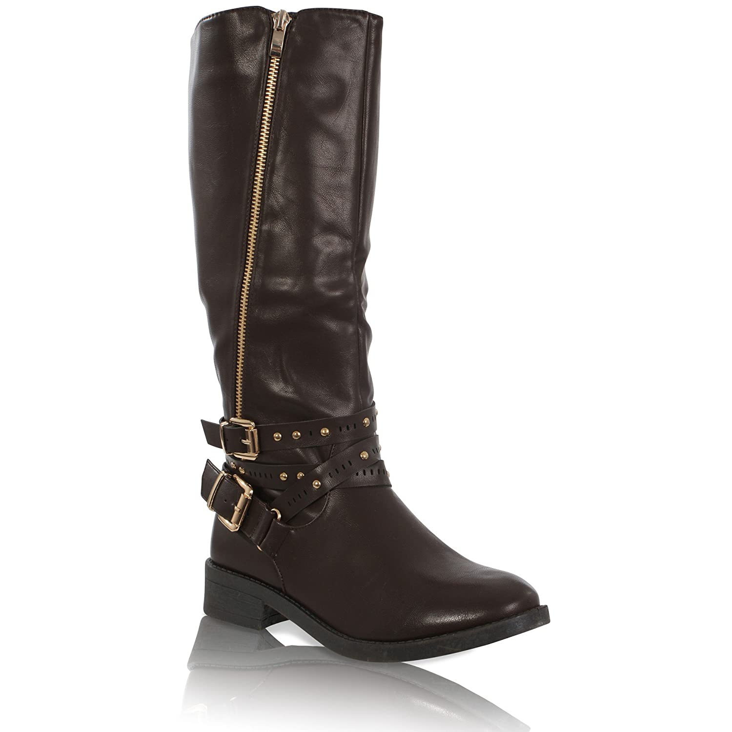WOMENS BLOCK LOW HEEL BUCKLE OVER THE KNEE STUDDED LADIES BOOTS SHOES SIZE 3-8