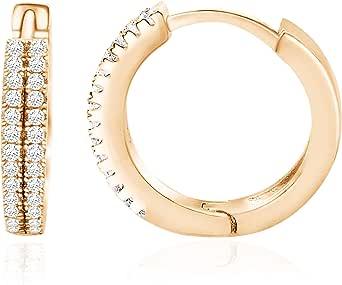 Spoil Cupid 14k Rose Gold Plated Sterling Silver Cubic Zirconia Small Hoop Earrings Huggie Ear Cuff 12mm