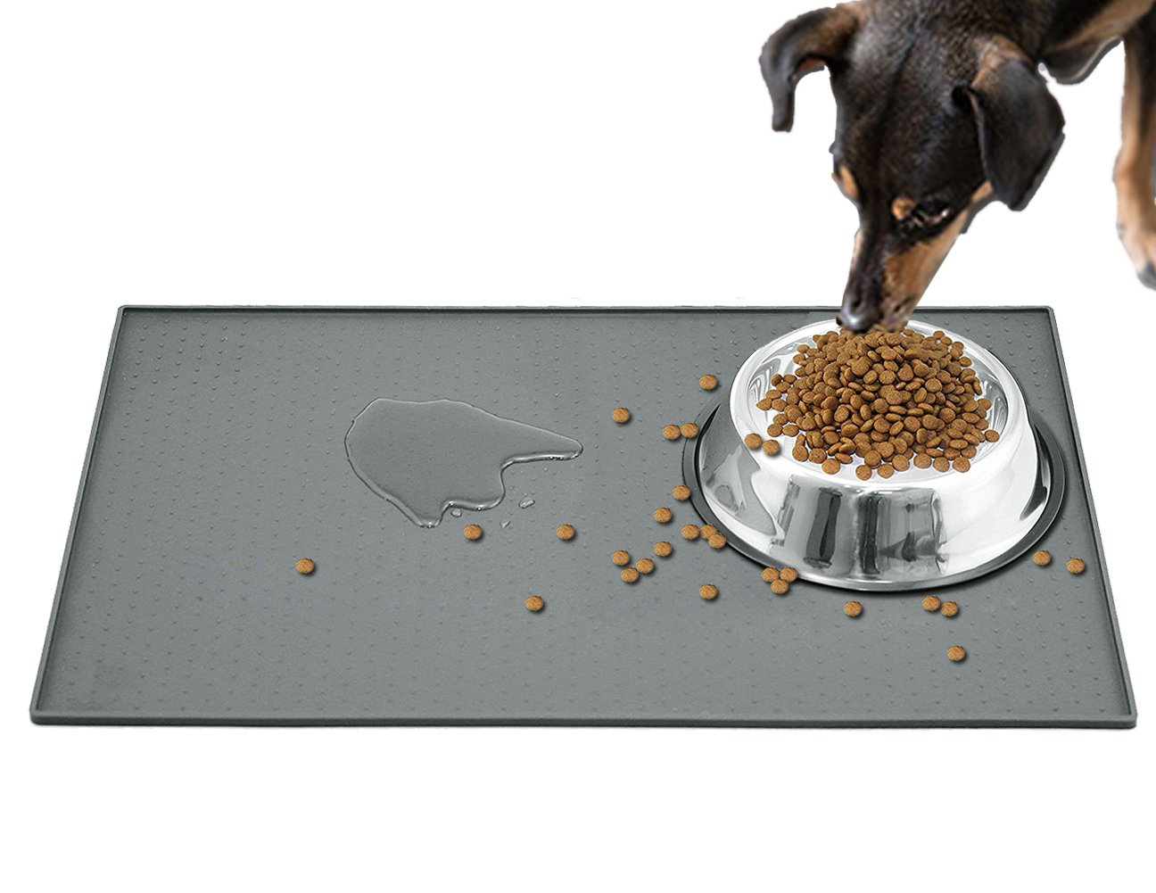 Extra Large Dog Food Mat (24''x16''), FDA Grade Silicone Pet Feeding Mat for Cat Dog Bowls, Waterproof, Anti-Slip, Anti-Spill, Grey Pet Placemats for Floors VOAO