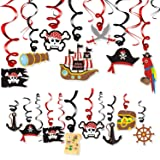Levfla 30CT Pirate Party Hanging Foil Swirls Decoration Kids Birthday Photo Props Adventure Ideas Ceiling Captain Hat Skull T