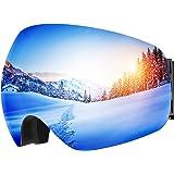TOPELEK Maschere Sci, Unisex Snowboard Occhiali da Sci, Super-Grandangolo Lente Sferica a Doppia Strato, con Anti-Fog e Trattamento di Protezione UV400, per Donna e Uomo-Grigio