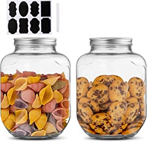 1 Gallon / 4000ml Clear Mason Jar With Lids, Airtight Glass Jars With Metal Lids Perfect for Beer, Sun Tea, Coffee, Coke and Cold Drinks, 2 pack