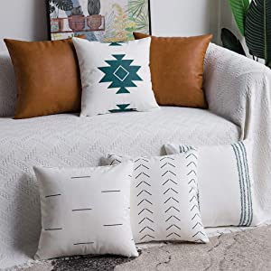 DEZENE Decorative Throw Pillow Covers: Set of 6 Modern Boho Square Cotton and Faux Leather Pillow Cases for Home Decor Living Room Farmhouse Sofa Couch, 18 x 18 Inch, White/Green/Brown