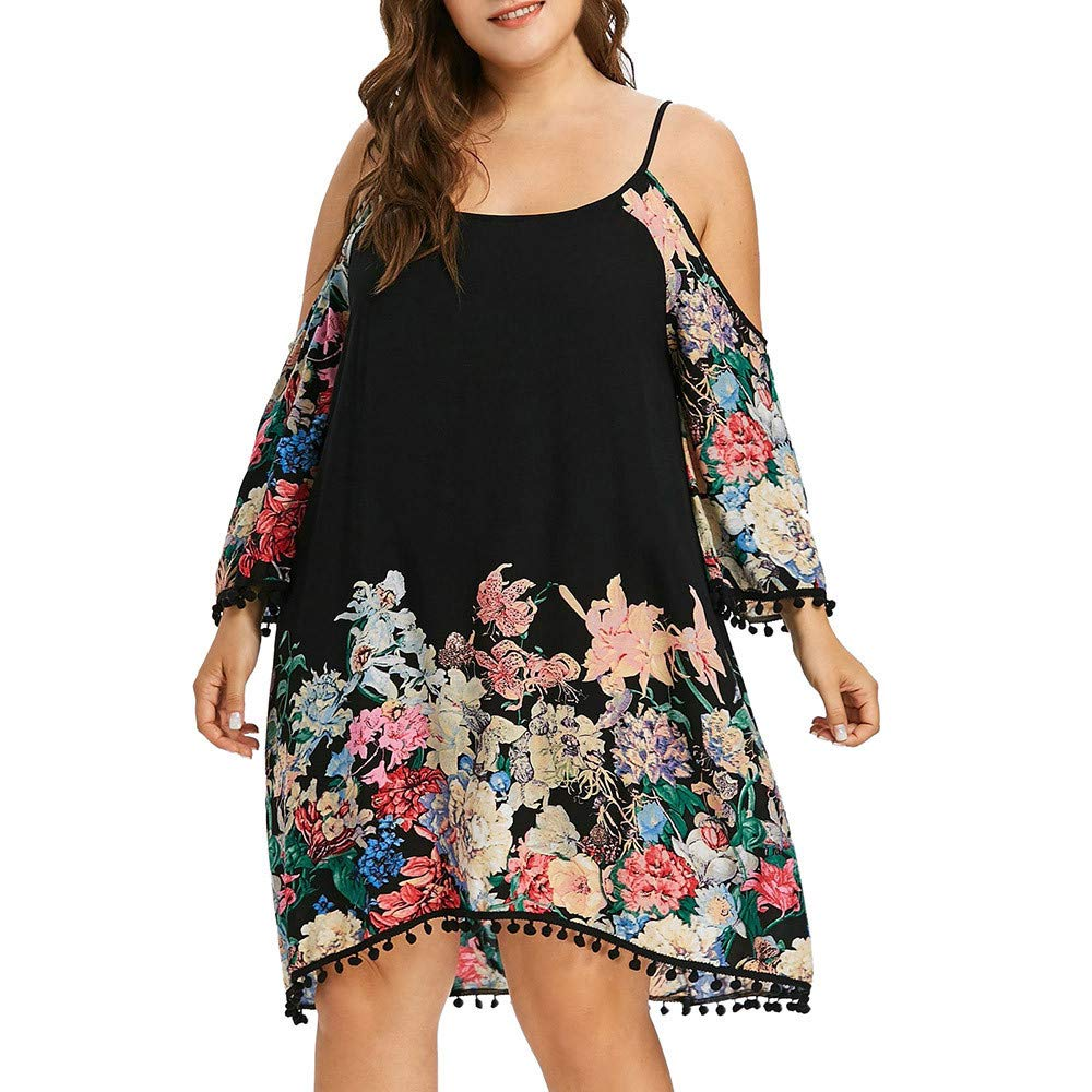 AMSKY Navy Blue Dress for Women Bridesmaid,Fashion Women Plus Size Cold Shoulder Strapless Long Sleeve Flower Printed Dress,Sweaters,Black,XXL