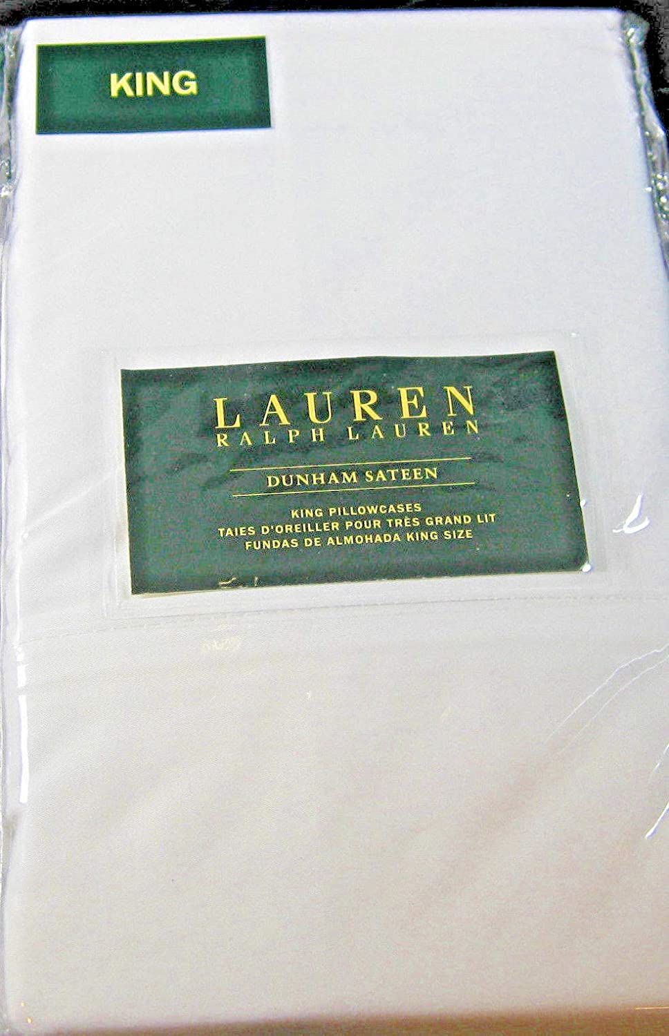 Ralph Lauren Set of Dunham Sateen King Size Pillowcases White -300 Thread Count 100% Cotton-
