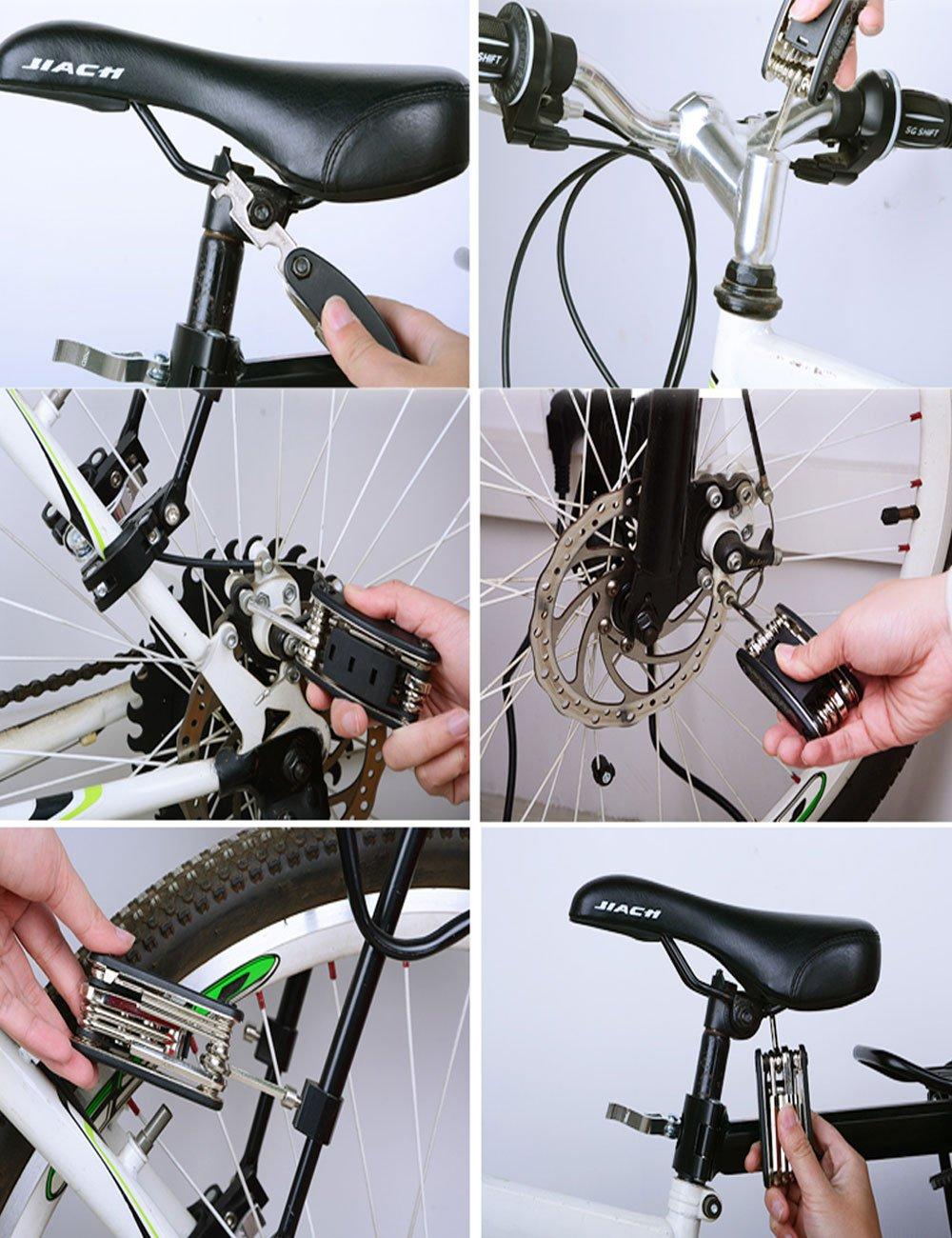 Fahrradreparatur-Werkzeugsatz, July Miracle 16 in 1 Multifunktions Fahrrad Mechaniker Fix Tragbare Werkzeuge Set Tasche mit Kette Werkzeug und Reifenpatch Hebel