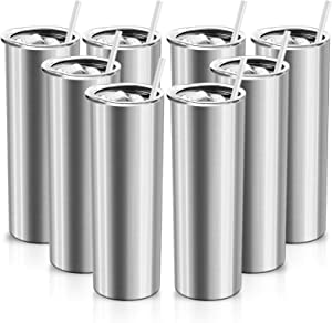 XccMe 30 oz Skinny Stainless Steel Tumbler,Double WallSlim Insulated Tumbler with Lid, Skinny Cups with Straw, for Travel Mug Gift, Coffee, Tea, Beverages (Silver 8)