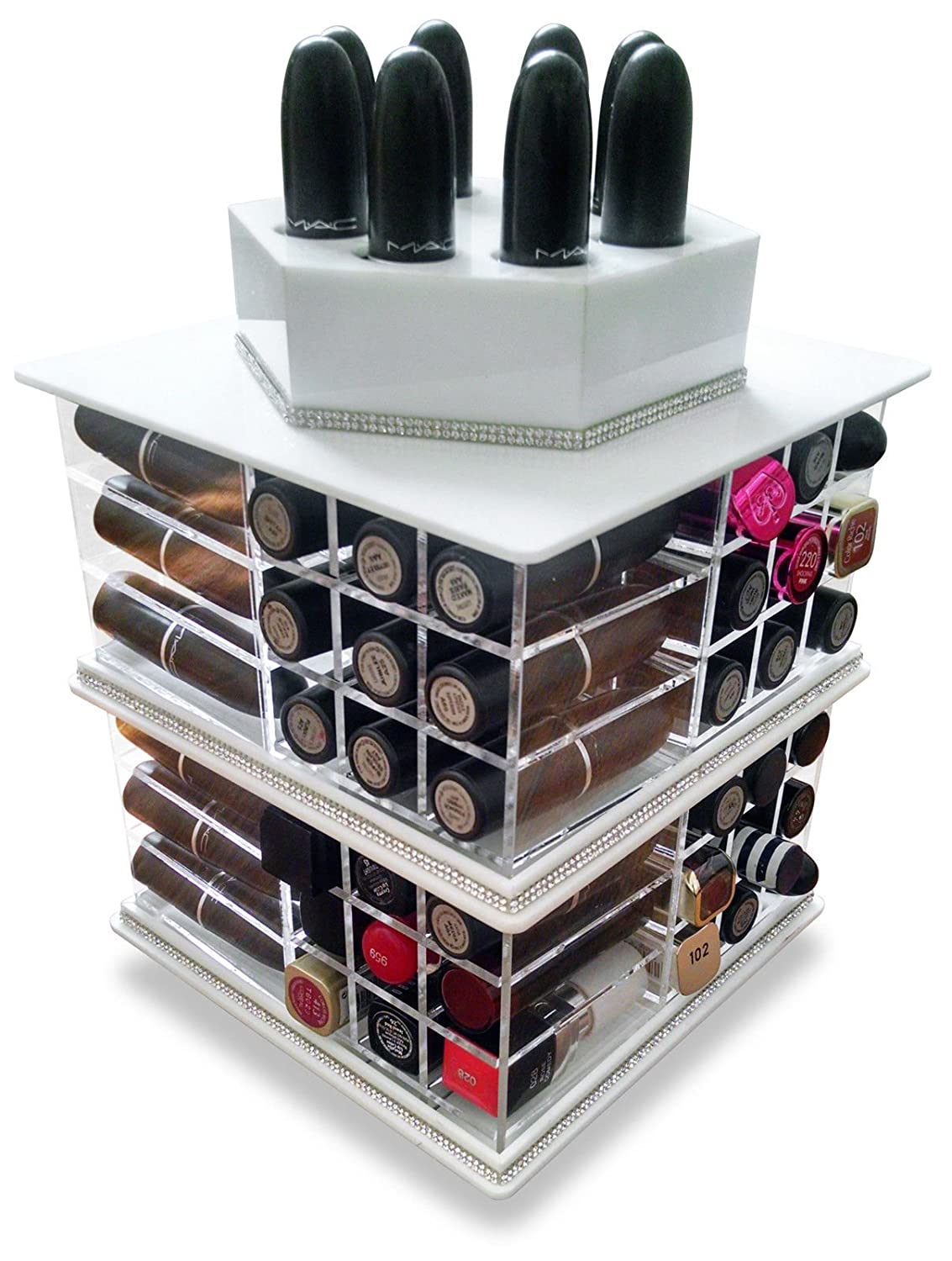 Oi LabelsTM Clear Acrylic Rotating / Spinning Lipstick Holder Tidy  Organizer - Can Hold up to 80 Lipsticks (White): Amazon.co.uk: DIY & Tools