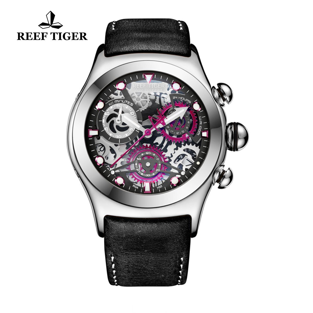 Reef Tiger Chronograph Sport Watch with Date 316L Steel Black Skeleton Dial Luminous Watches RGA792 by REEF TIGER
