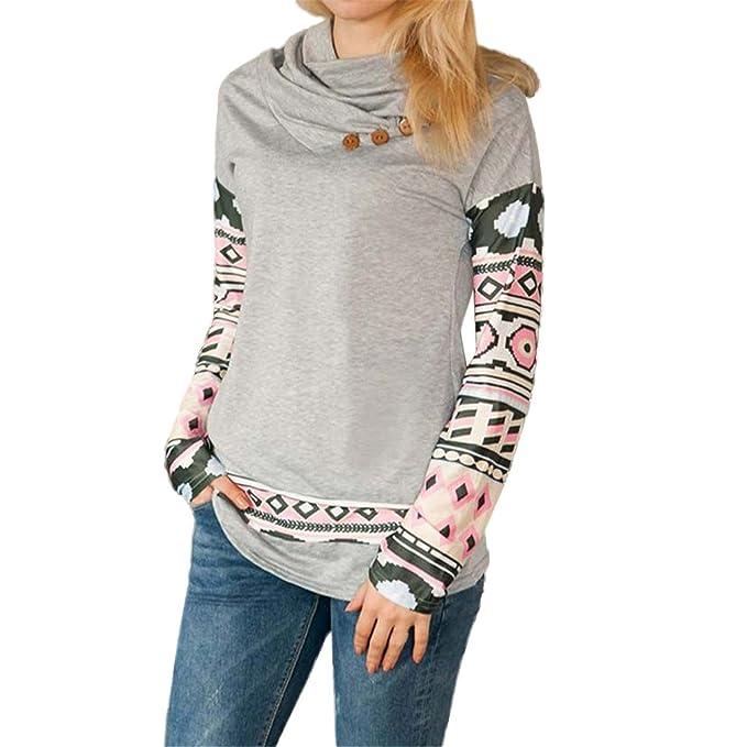 ZARU Mujeres de manga larga cuello redondo jersey de algodón Blusa Geometría de impresión de la
