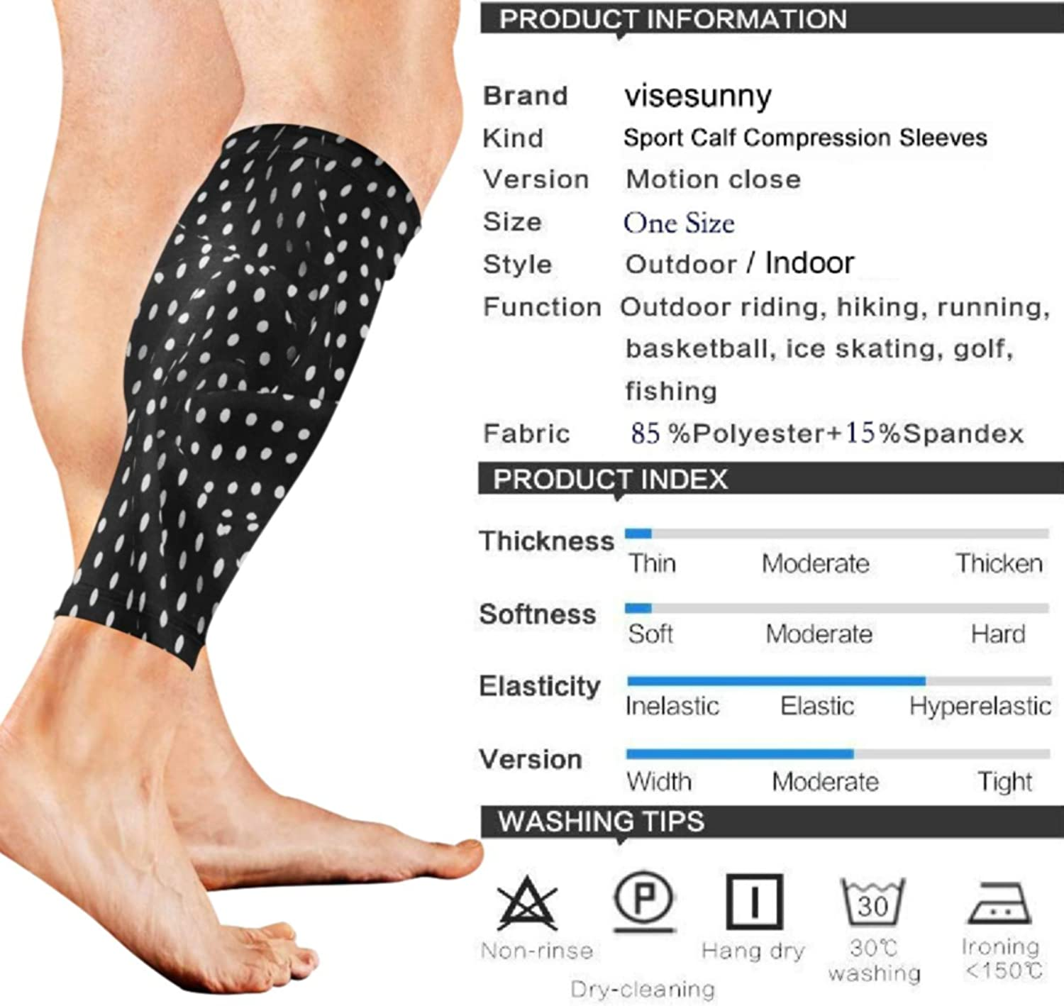 visesunny Polka Dot Pattern Sports Calf Sleeves for Muscle Pain Relief, Improved Circulation Compression Effective Support for Running, Jogging,Workout, Walking & Recovery(1 Pair)