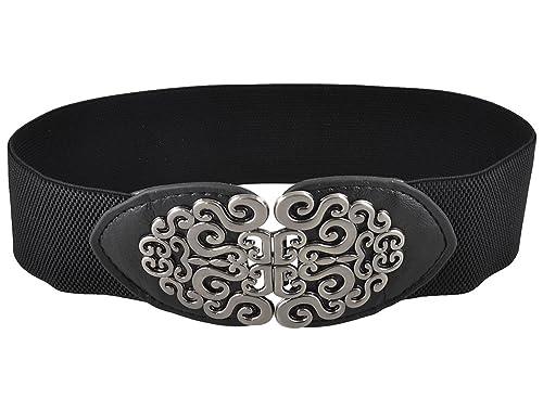Sourcingmap Correa Cintura Elástica Con Hebilla Para Señora Mujer De Cuero De Imitación Cintura Con Textura - Negro