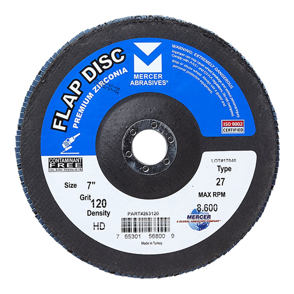 Mercer Industries 262120 Zirconia Flap Disc High Density Type 27 4-1//2x 7//8 Grit 120 10 Pack