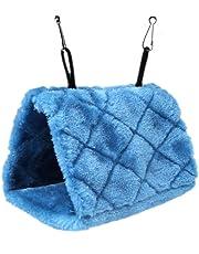 ForuMall Plush Snuggle Pájaro hamaca para colgar Snuggle cueva feliz Hut Aves Loro Hideaway (Azul