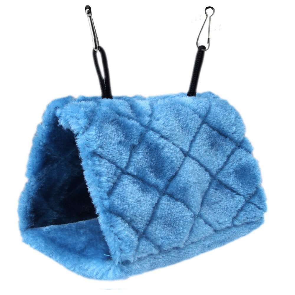 Tenflyer Plush Snuggle Bird Parrot Shed Hammock Hanging Cave Warm Canary Hut Nest (Blue, S)