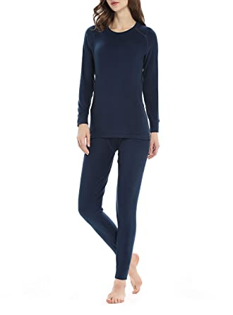 1cdfa6b1d89007 Genuwin Women's Thermal Underwear Set Midweight Fleece Lined Long Johns Set  Base Layer Set S~