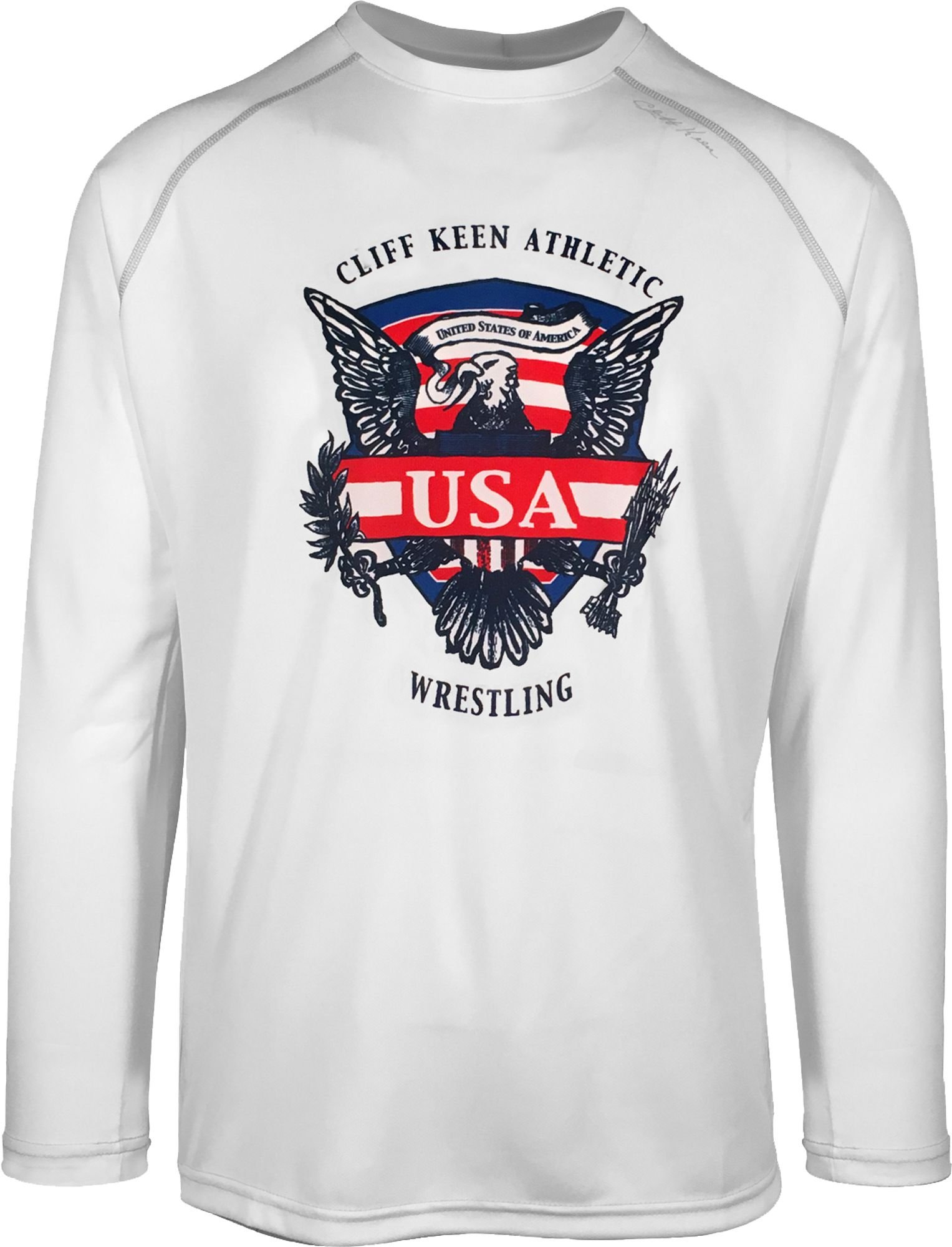 Cliff Keen Adult Historic Eagle Loose Long-Sleeve Wrestling Top (XS, White)