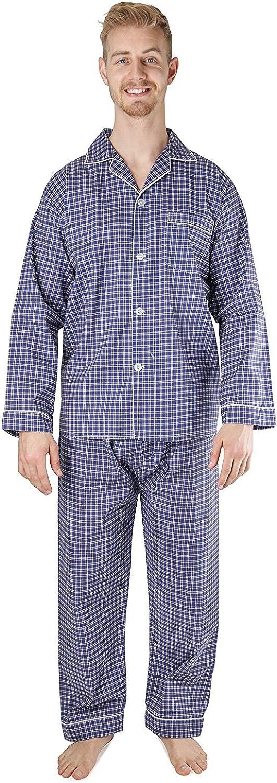Mens Woven Sleepwear Long Sleeve Pajama Set Cotton Blend Regular /& Big Sizes