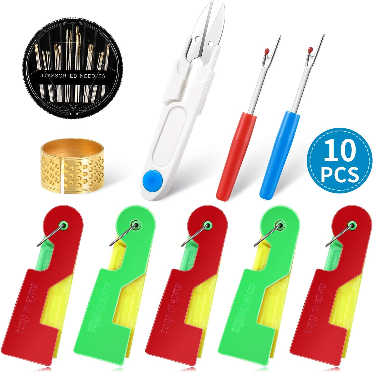 10 Pieces Hand Sewing Needle Threader 3 Pieces Sewing Thimble and 30 Pieces Assorted Needles for Daily Sewing Problem 6 Pieces Automatic Threaders Needle Threader Sewing Set 2 Pieces Seam Rippers