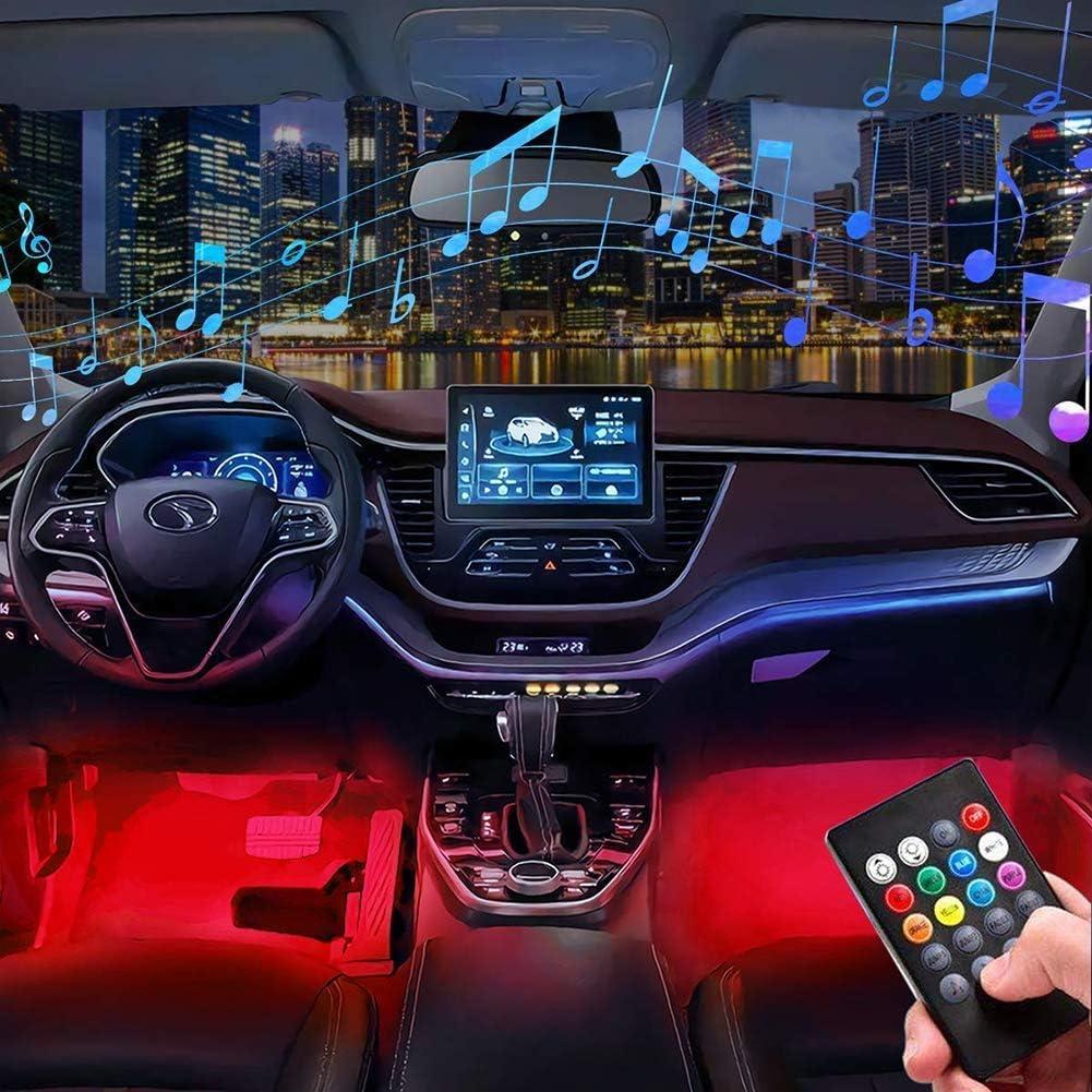 Car Under Dash Lighting Kits 4pcs Music Sync Interior Car Lights 48 LEDs MultiColor LED Strip Lights w//Sound Active Function Wireless Control USB Car Charger LED Interior Atmosphere Lights DC 5V