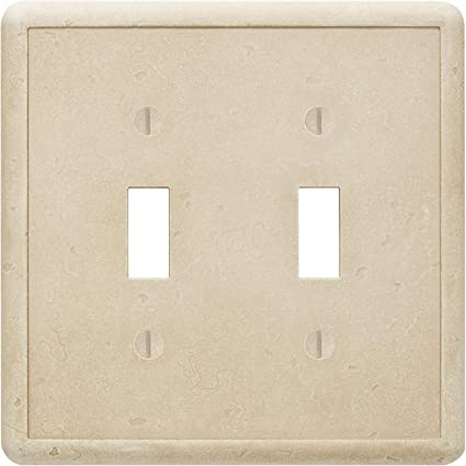 Double Toggle Travertine Light Switch Cover Cast Stone Tumbled Textured Outlet Cover Wall Plate