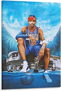 Rumlly Hang A Picture Posters Canvas Wall Art Allen EzailIverson Cool Poster Legendary Basketball Player Wall Decor Home Decoration Painting Oil Painting Frame-style1 20×30inch(50×75cm)