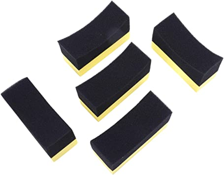 Iycorish 5X Professional Automotive Car Wheel Washer Tyre Tire Dressing Applicator Curved Foam Sponge Pad Black+Yellow
