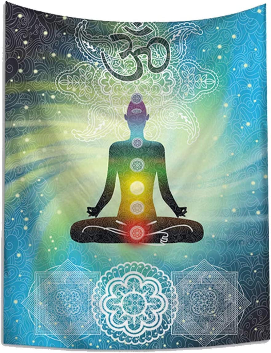 Indian Seven Chakras Meditation Tapestry Yoga Studio Tapestry Room Decorations Inner Peace Wall Hanging Poster Reiki Spiritual for Bedroom Living Room Dorm Bohemia, 60Wx80L