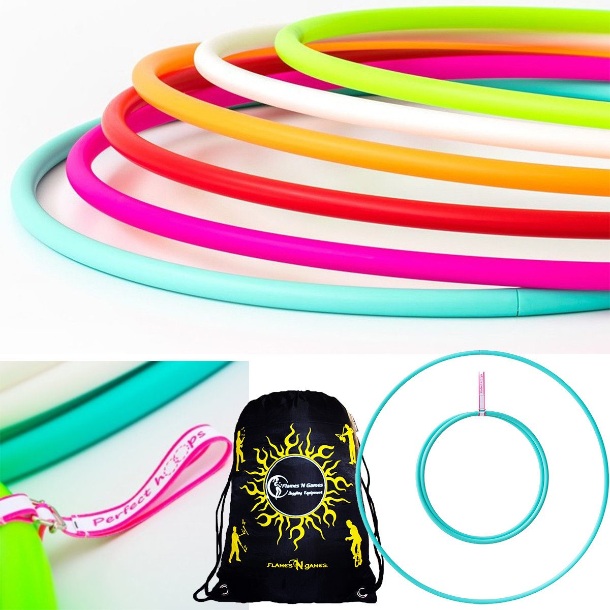 Play PERFECT Naked Hula Hoops + Flames N Games® Travel Bag. Weighted TRAVEL Hula Hoop (100cm/39') Hula Hoops For Exercise, Dance & Fitness! (350g) NO Instructions Needed - Same Day Dispatch! Play / Flames N Games