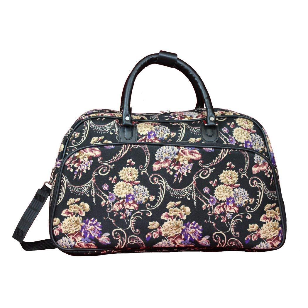 Girlsマルチクラシック花パターンCarry On Duffleバッグ、美しいカラフルなボヘミアン花テーマショルダートート、スタイリッシュな軽量旅行ダッフルバッグ、Softsided、ファッショナブルな、環境に優しい、ポリエステル   B0798252WX